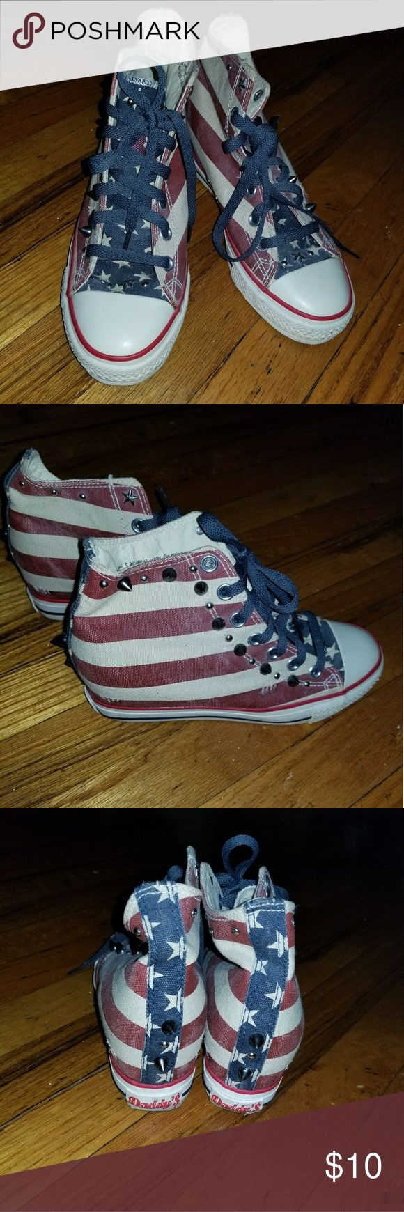 Skechers Daddy's $ Flag Print/Stud Wedge Sneakers Skechers Daddy's Money Flag Print Studded Wedge Sneakers for  Teen, Women or Kids  Size 7 Pre-Owned; normal wear and tear (worn only a couple of times)  Wearable, acceptable condition! Skechers Shoes Sneakers