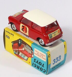 Corgi Toys 333 Mini Cooper RAC International Ralleye racing car Pic. www.qualitydiecasttotoys.com