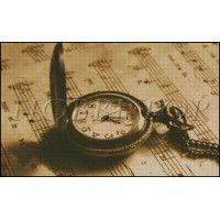 """Схема вышивки  """"Карманные часы""""  (сепия)"""