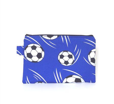 Blue Soccer Ball Pencil Stationery Case Zipper Pouch