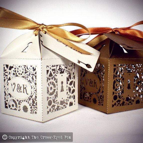 x20 Steampunk Personalised Favour Boxes by TheCrossEyedFox on Etsy