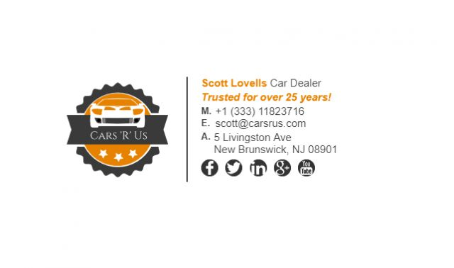 This is an email signature example for car dealers.