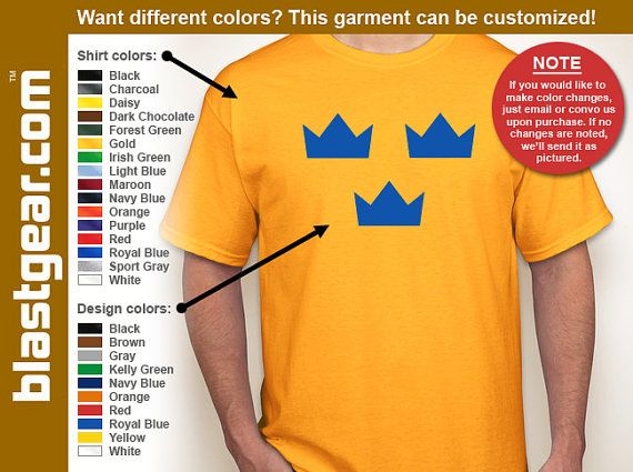 Sweden Tre Kronor (three crowns) hockey T-shirt -- Any color/Any size - Adult S through 5XL, Youth XS through XL, $11.99 - Sweden's top football league set to kick off at the weekend, so you need one of these! Visit our Etsy shop with 300+ customizable shirts! You pick the shirt color, the design color... modifications, that's okay. We can do it! Use Coupon Code: SAVE15 to save 15%!