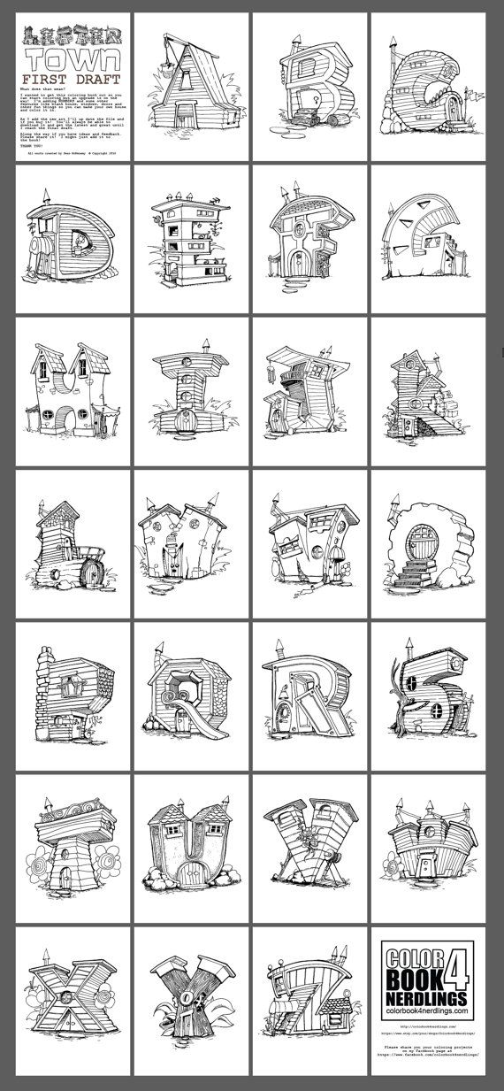 ABC 123 Fairy House Letters alphabet by Colorbook4Nerdlings