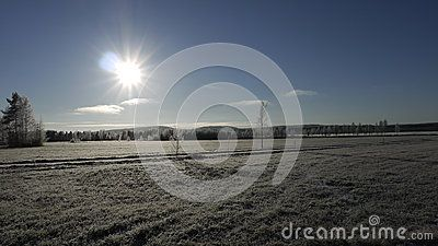 Sun shining on a countryside meadow in winter