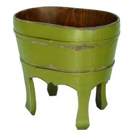 """Stow newspapers and magazines in the den or living room with this lovely bucket, showcasing a weathered green finish.   Product: BucketConstruction Material: WoodColor: GreenFeatures: HandcraftedWeathered finishDimensions: 12"""" H x 12""""  W x 8"""" DCleaning and Care: Wipe down with clean cloth and lemon oil"""