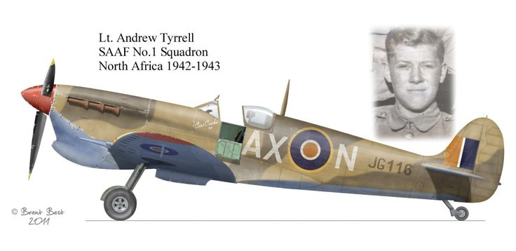Spitfire flown by Andrew Tyrrell , SAAF No.1 squadron,N.Africa 1942-1943 ,profile by Brent Best.