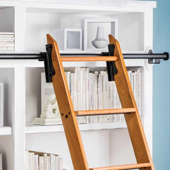 Rockler 8 Foot Classic Rolling Library Ladder Kit with 12 Feet of Track, Satin Black