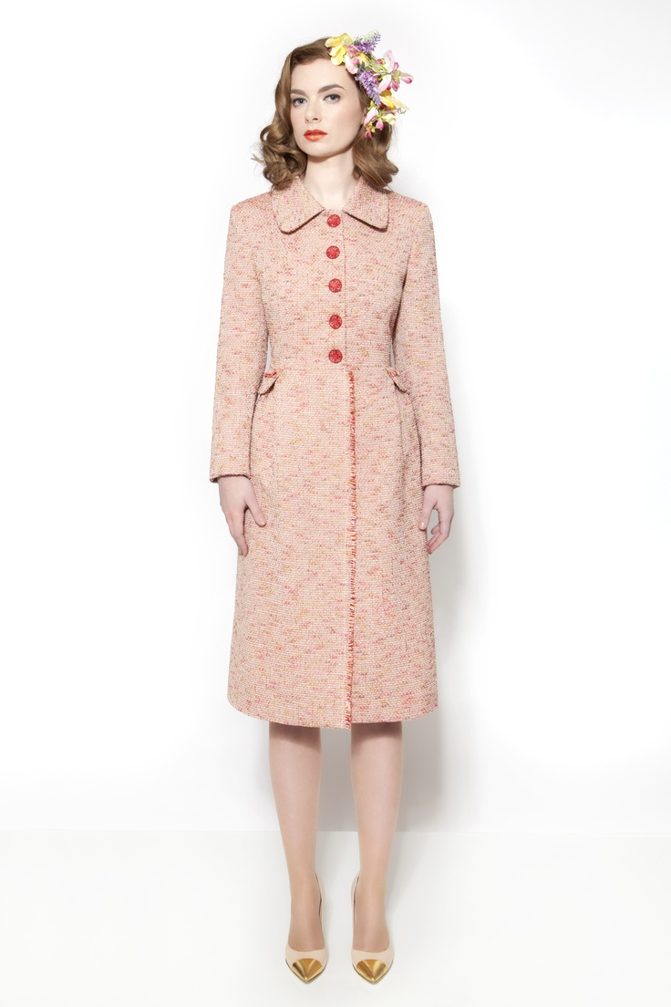 Allana coat by Caroline Kilkenny . Soft pink & coral tones with a slight silver lurex thread running through this fabric make this coat a Wow piece. Sizes 10 to 18 . € 398.00