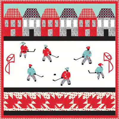 """""""Hockey Is Our Game"""" ~ 50""""sq wall quilt, Canada & winter sports theme, $10 pattern 
