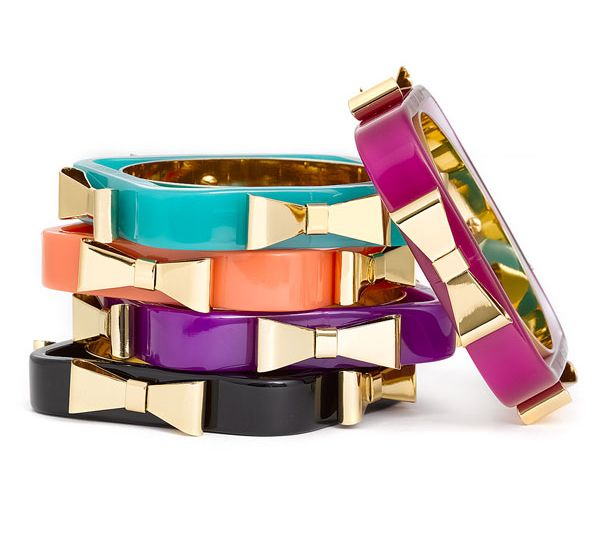 "Ulta-modern ""Charry"" Bow acrylic #bangles in assorted tones to add a distinctive touch to your outfit, from #TedBaker's SS '14 Collection #Darveys #style"