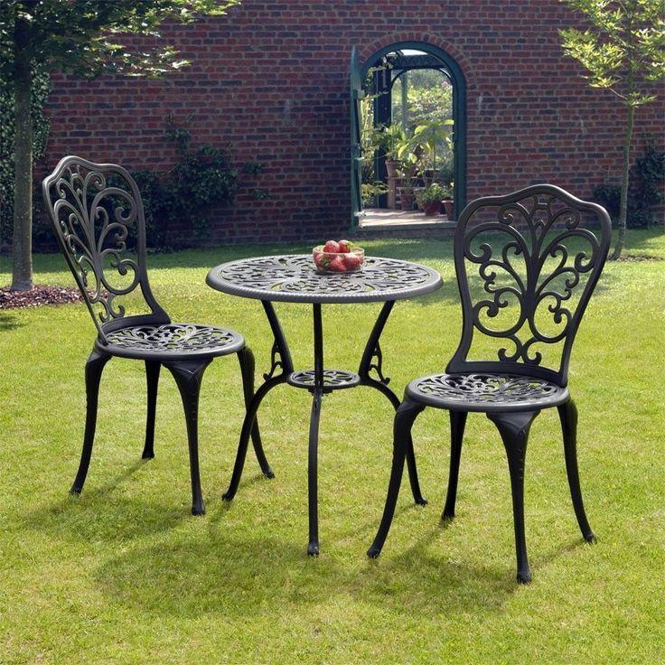 Bistro Set Dining Black Cast Aluminum Bistro Set Garden Lawn Patio Furniture