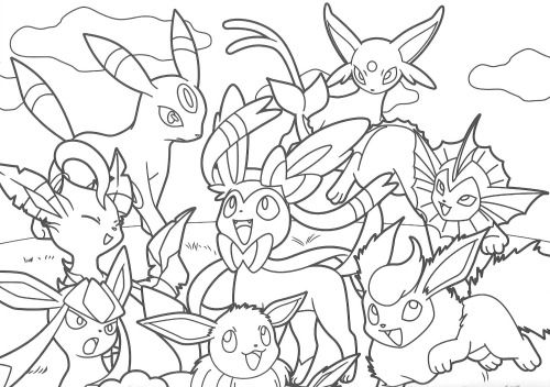 Pikachu and Eevee Friends coloring