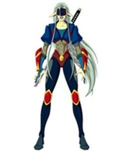 Kunoichi is a four-eyed, ninja-warrior, Yama-Titan. She wears blue and red armor and had long blue hair. Armed with a katana, Kunoichi is a fast and agile fighter. A Kunoichi Amulet is in the possession of Santiago.    Santiago acquired Kunoichi's Amulet at an unknown time.   Santiago invoked Kunoichi in the great battle at the Blood Spiral Base. Kunoichi defeated numerous Bazela Insect Titans. S2E51   Later on in the battle, Kunoichi cut a hole in a Scram-jet to rescue LeBlanche. Santiago…