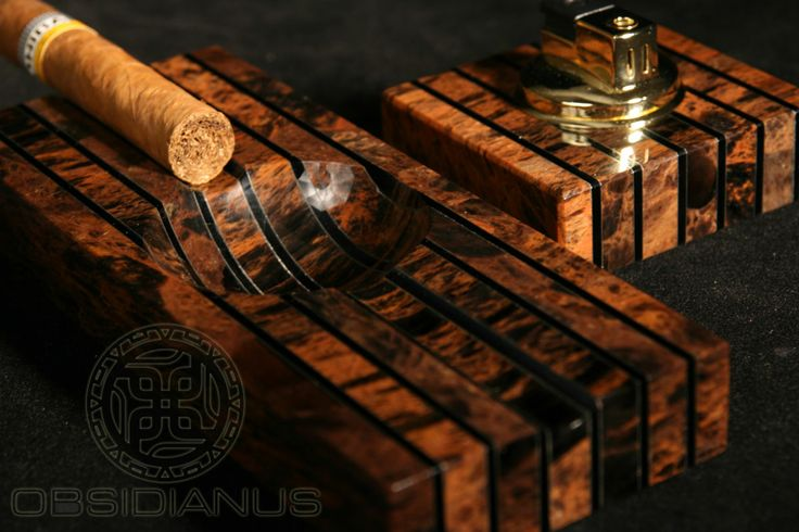 Cigar Ashtray & Lighter Hand Made / Semiprecious Natural Obsidian Stone / Dark Mahogany Color