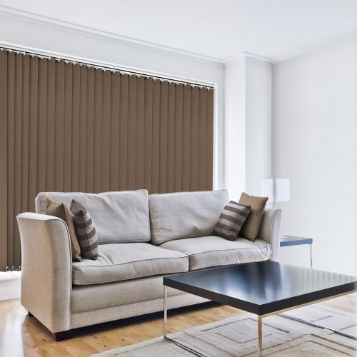 Vertical blind is a plain tone of milky brown made im the UK and supplied with white headrail & 89mm louvres