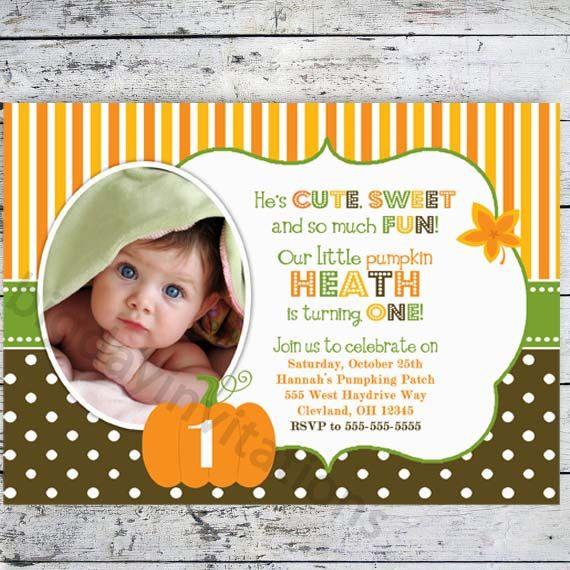 Pumpkin Birthday Party Invitations - Bright Modern - Printable Invite 1st Birthday - Can be baby shower invitation. $11.49, via Etsy.