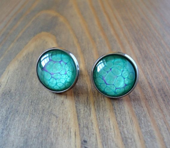 Green purple stud earrings, hand painted studs, unique minimal earrings, simple glass paint earrings, casual studs, cabochon pebeo jewerly