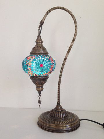 Turquoise Swan Neck Mosaic Lamp With Vintage Look Bronze Plated Base - Sophie's Bazaar - 1