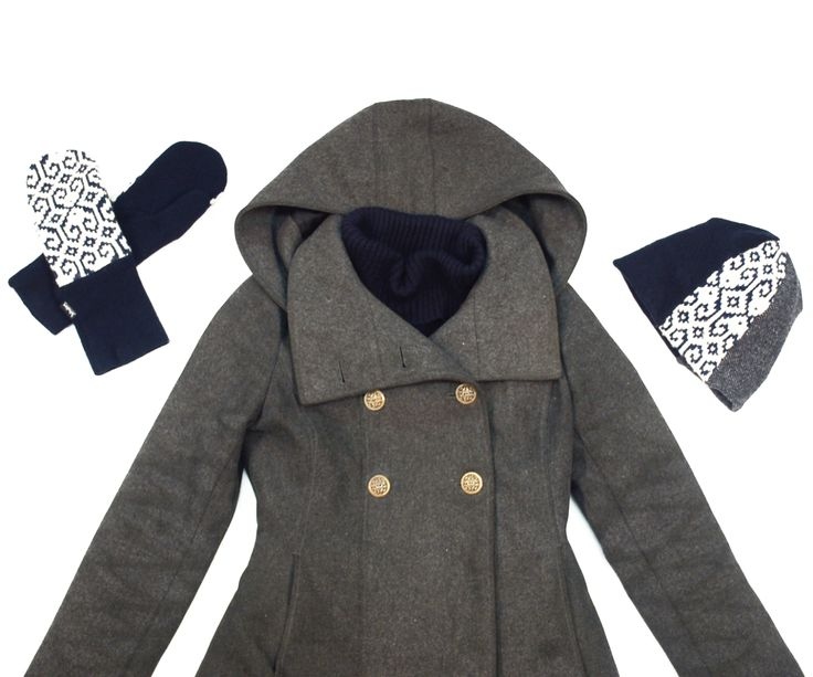 Fashion flat lay: grey peacoat by Soia & Kyo, navy and white upcycled sweater beanie and mitts by Jennifer Fukushima.