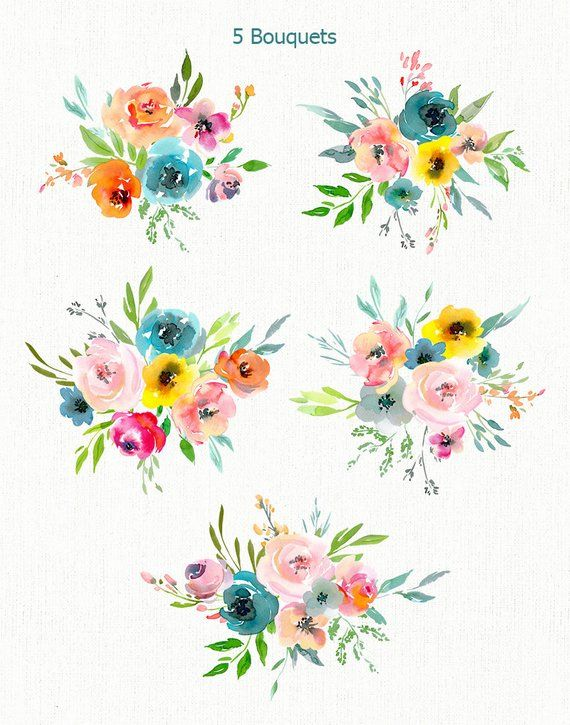 Bright Watercolor Floral Clipart Summer Flowers Bouquets Wreath