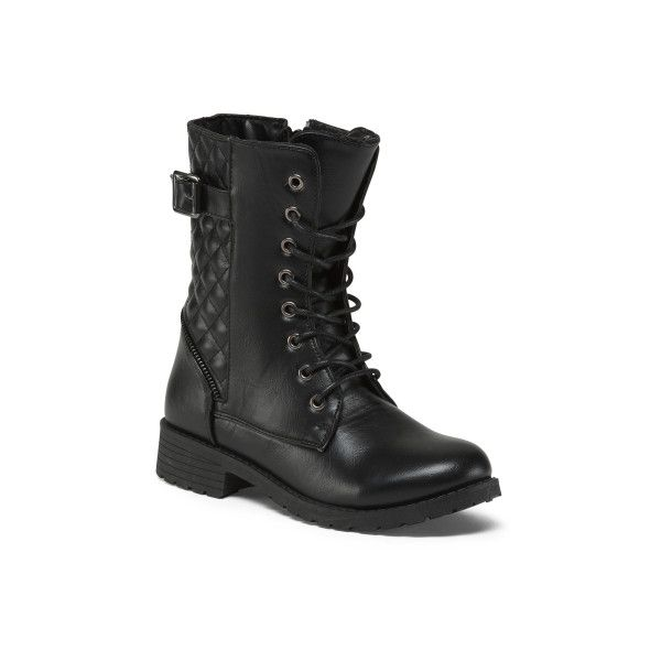Lace Up Combat Boots ($20) ❤ liked on Polyvore featuring shoes, boots, laced up boots, lace-up boots, rounded toe boots, lacing combat boots and round toe boots