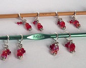 Set of 8 Red Bead Crochet (leverback) Stitch Markers