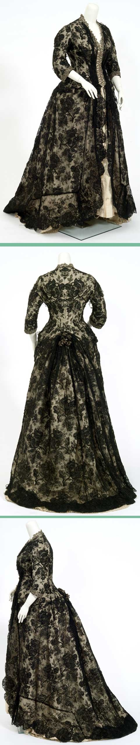 One-piece dress, ca. 1870-1876, of ivory moiré with bodice and overskirt of Chantilly-like black lace. Minnesota Historical Society