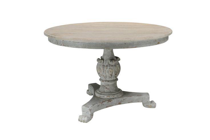 kulatý jídelní stůl s deskou z restaurovaného starého dubu a ručně vyřezávanými detaily / stylový toskánský nábytek