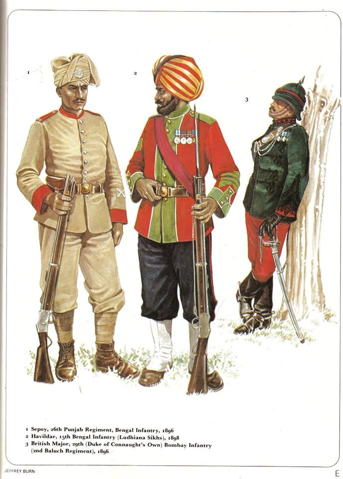 1:Sepoy,26th Punjab Regiment,Bengal Infantry,1896.2:Havildar,15th Bengal Infantry (Ludhiana Sikhs),1898.3:British Major,29th (Duke of Connaught's Own) Bombay Infantry (2nd Baluch Regiment),1896.