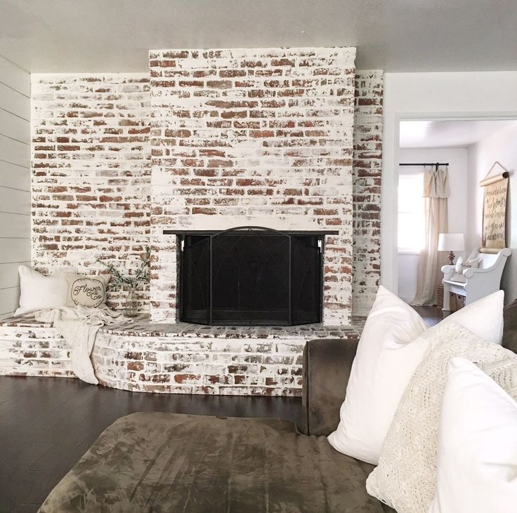 Faux German Smear Fireplace Brick Fireplace Makeover