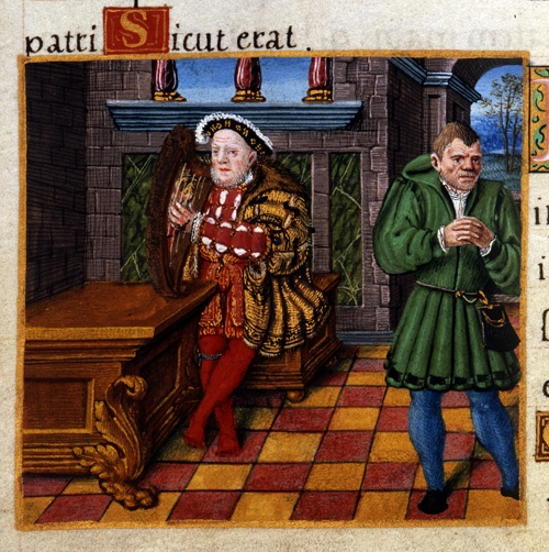Detail of a miniature of Henry VIII as David and his court jester, William Somer (or Sommers), at the beginning of Psalm 52. Origin:England, S. E. (London)