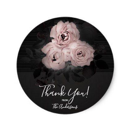 Pink & Black Modern Glam Floral Chic Favor Classic Round Sticker - bridal gifts bride wedding marriage