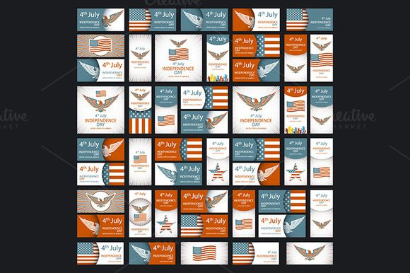 Set of Independence day USA vector by Rommeo79 on @creativemarket