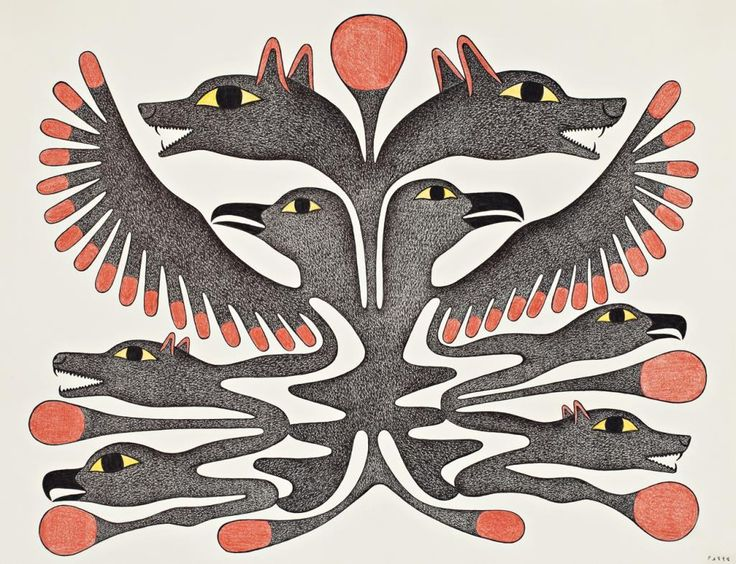 Kenojuak Ashevak - Bird and Wolf Heads 20 x 26 Graphite colored pencil ink drawing (1998)