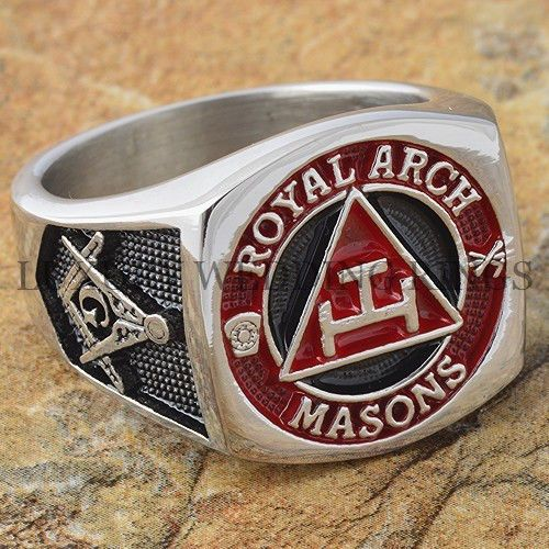 Men's Masonic Ring York Rite Royal Arch Mason Degree Freemason Signet Size 9-13 #LWR #Masonic