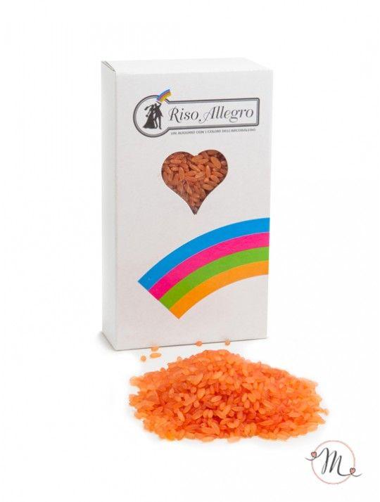 Riso allegro arancione. Riso Allegro colorato nella tonalità Arancio.  Non contiene amido e non macchia gli abiti neanche in caso di pioggia.  Confezione da 200 gr. In #promozione #matrimonio #weddingday #ricevimento #riso