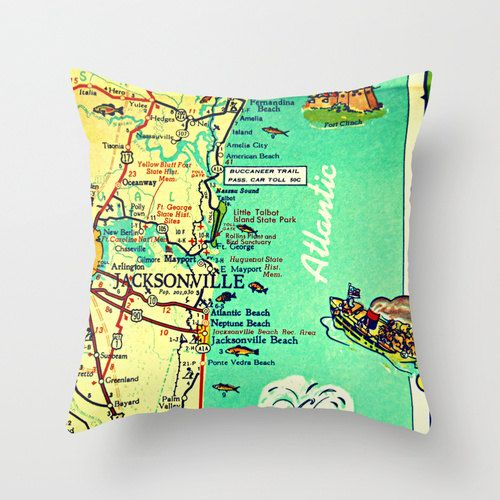 JACKSONVILLE Map Pillow  Neptune Beach House  by VintageBeachMaps, $38.00http://www.etsy.com/listing/167857083/jacksonville-map-pillow-neptune-beach?ref=shop_home_active