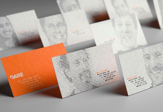 "brilliant! ""...DARE is a merger of a traditional agency and digital shop, so we wanted business cards that also combine old with new. We created an online tool where employees could upload a picture of themselves, and enter their email, phone numbers and other contact info. An ASCII image of the employee was automatically created using only characters from their own contact information. We then printed their personalized card designs on a letterpress printer..."""