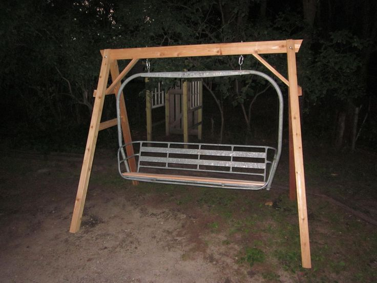 Ski Lift Swing : Chair lift swing bench made from ceder and a reclaimed