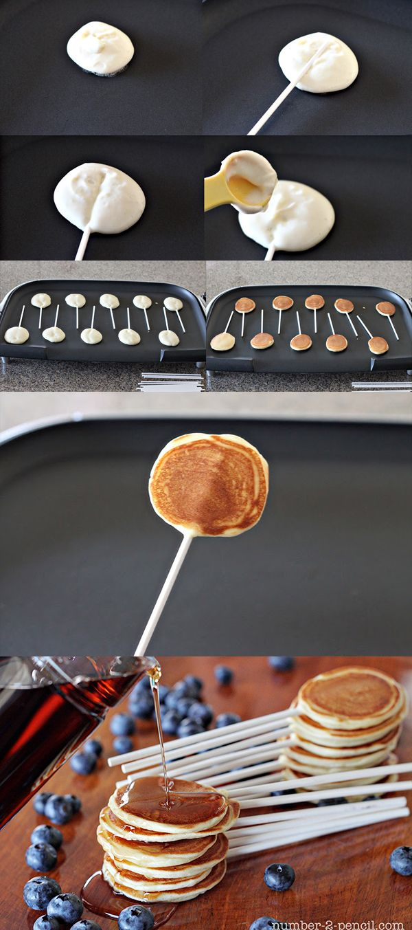 DIY Pancake Pops - you could use this idea for any pancake recipe!
