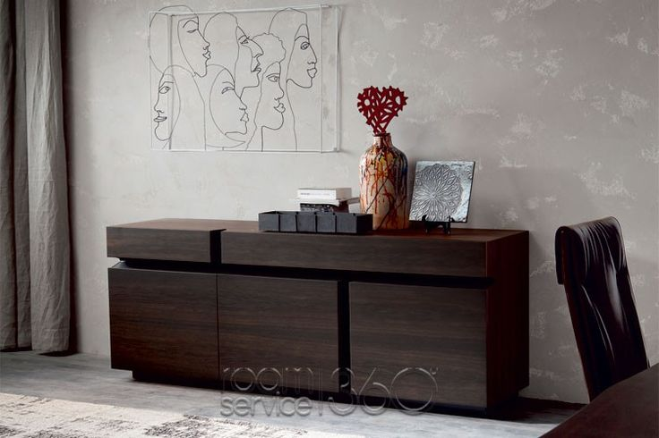Prisma Buffet in Burned Oak and Graphite Profile by Cattelan Italia