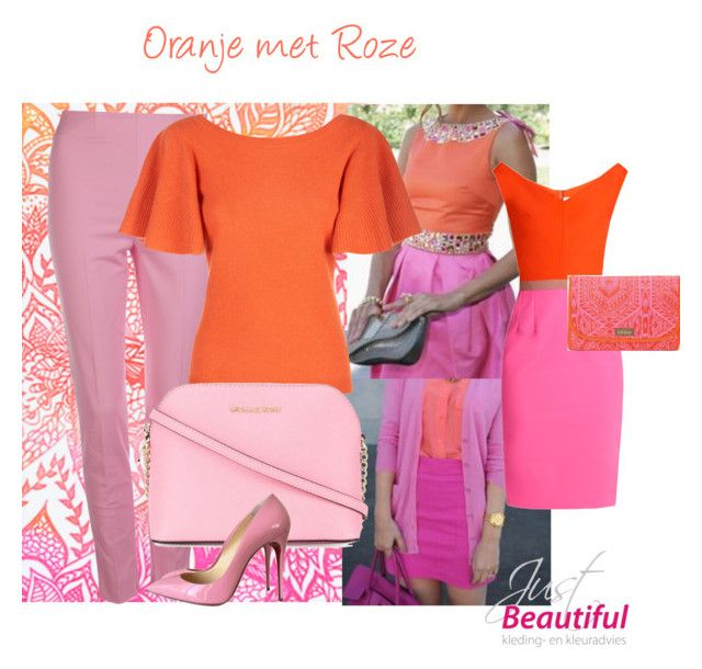 Kleurcombinatie Oranje met Roze by justbeautiful on Polyvore featuring mode, Emilio De La Morena, Temperley London, Moschino, Christian Louboutin, MICHAEL Michael Kors, Casetify and Stella & Dot