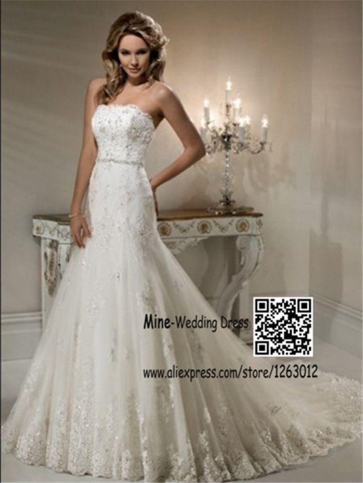 Платье-линии без бретелек кружева аппликация рукавов суд поезда кружева свадебное платье для невесты hand-бисером створки платье невесты