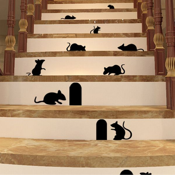 Cool Black Mice And Holes Rats Mouse Wall Sticker Home Decals Decor Art