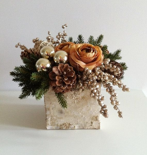 Birch Holiday Arrangement Gold by ArtsFloralDesign on Etsy, $69.00