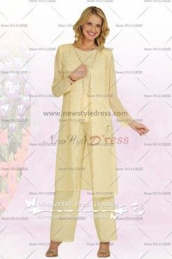 2ce4946e39 Daffodil Spring Chiffon Three Piece mother of the bride pants set with long  coat nmo-047