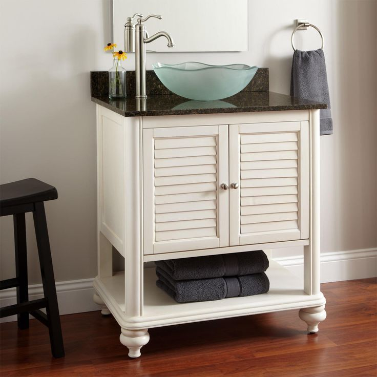 Antique Home Furniture White Bathroom Vanity With Frosted Glass Tropica Vessel Sink Using Fresstanding Chrome Single Handle Faucet And Towel Shelf With Bathroom Small Vanities Plus Bath Tile Design Ideas, Stylish White Bathroom Vanities Ideas For Lovely Your Home Design: Bathroom, Furniture, Interior