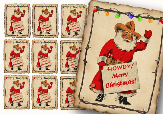 Cowboy Western Santa Gift Tags, Digital Stickers, print ...