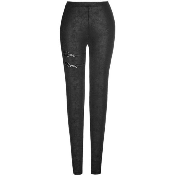 Niobium Black Gothic Leggings by Punk Rave ($38) ❤ liked on Polyvore featuring pants, leggings, gothic trousers, punk leggings, gothic pants, goth pants and punk pants